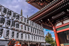 TOKYO, JAPAN: Series of Japanese lanterns in Senso-ji temple located at Asakusa area, Tokyo, Japan Stock Photo