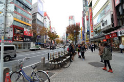 TOKYO, JAPAN - NOVEMBER 28: Shibuya is known as a youth fashion Royalty Free Stock Photos