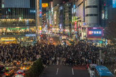 TOKYO JAPAN - November, 22, 2014: Shibuya korsning i Tokyo Arkivfoton