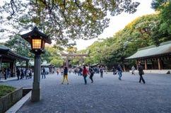 TOKYO, JAPAN - NOVEMBER 23, 2013: Toeristenbezoek de Torii-Poort royalty-vrije stock foto's