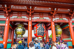 TOKYO, JAPAN: Tourists are visiting Senso-ji temple located at Asakusa area, Tokyo, Japan royalty free stock images