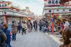 TOKYO,JAPAN - 24 November  2015 :Tourists walk on Nakamise Dori Stock Photos