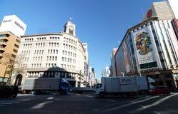 Tokyo, Japan - November 26, 2013:  Traffic at Ginza crossroad Stock Photos