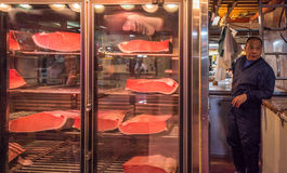 TOKYO, JAPAN - November, 22, 2014: Tuna sellers at Tsukiji Stock Photography