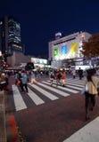 Tokyo, Japan - November 28, 2013: Voetgangers bij de beroemde kruising van Shibuya Stock Foto's