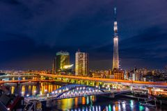 Nightscape of Tokyo skytree tower Royalty Free Stock Images