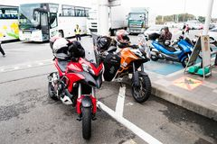 Tokyo, Japan - October 6, 2018: big Ducati bikes parked while the riders take a rest stock photo