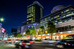 Cars in motion in the Ginza district Royalty Free Stock Photos