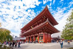 TOKYO, JAPAN - OCTOBER 31, 2017: A crowd of tourists near the temple Asakusa Schrein Senso-ji. Copy space for text. royalty free stock images
