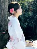 Daylight portrait of dark hair asian female dressed in tradition royalty free stock photography