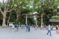 TOKYO, JAPAN - OCTOBER 07, 2015: Entrance to Imperial Meiji Shrine located in Shibuya, Tokyo shrine that is dedicated to the deifi Stock Photos