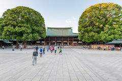 TOKYO, JAPAN - OCTOBER 07, 2015: Entrance to Imperial Meiji Shrine located in Shibuya, Tokyo shrine that is dedicated to the deifi Royalty Free Stock Photography