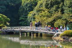 TOKYO, JAPAN - OCTOBER 31, 2017: Group of children on a bridge in Shinjuku park. Copy space for text. TOKYO, JAPAN - OCTOBER 31, 2017: Group of children on a royalty free stock photo