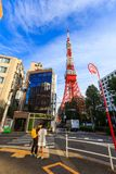 Unidentified Tourist looking for map of the way to Tokyo tower, Tokyo, Japan. Tokyo, Japan - October 18, 2016: Unidentified Tourist looking for map of the way royalty free stock image