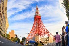 Unidentified Tourist taking photography of Tokyo tower, Tokyo, Japan. Tokyo, Japan - October 18, 2016: Unidentified Tourist taking photography of Tokyo tower Royalty Free Stock Photo