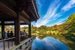 TOKYO, JAPAN - OCTOBER 31, 2017: View of the terrace overlooking the lake. Copy space for text. Royalty Free Stock Image