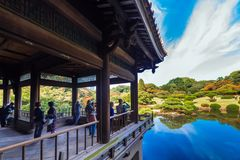 TOKYO, JAPAN - OCTOBER 31, 2017: View of the terrace overlooking the lake. Copy space for text. Stock Photos