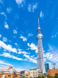 TOKYO, JAPAN - OCTOBER 31, 2017: View of the TV tower `The Heavenly tree of Tokyo`. Copy space for text. Vertical. TOKYO, JAPAN - OCTOBER 31, 2017: View of the stock image