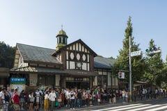 Tokyo Japan - Oktober 2, 2016: Klassisk byggnad av den Harajuku stationen, Tokyo, Japan Arkivfoton