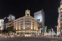 Tokyo Japan - Oktober 2, 2016: Mitsukoshi Ginza lager i Ginza, Tokyo, Japan på natten Arkivfoton