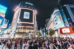 Tokyo, Japan, Oktober 2017: Tokyo Shibuya die bij nacht kruisen Royalty-vrije Stock Foto