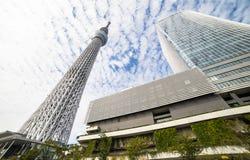TOKYO, JAPAN - 5. OKTOBER 2017: Tokyo Skytree bei Sumida mit blauer SK lizenzfreie stockbilder