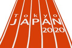 2020 Tokyo Japan Olympic Summer Games Sign over Running Track. 3. 2020 Tokyo Japan Olympic Summer Games Sign over Running Track on a white background. 3d Stock Photography