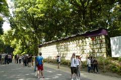Barrels of sake nihonshu donated to the Meiji Shrine, located in Shibuya, Tokyo. Tokyo, Japan, 2rd, June, 2017. Barrels of sake nihonshu donated to the Meiji royalty free stock photography