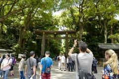 Torii leading to the Meiji Shrine complex, located in Shibuya, Tokyo. Tokyo, Japan, 2rd, June, 2017. Torii leading to the Meiji Shrine complex, located in stock photo