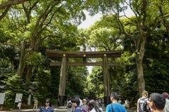 Torii leading to the Meiji Shrine complex, located in Shibuya, Tokyo. Tokyo, Japan, 2rd, June, 2017. Torii leading to the Meiji Shrine complex, located in royalty free stock photo
