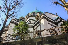 2013.01.07, Tokyo, Japan. Religious architecture of Japan. Façade of Christianity church in the Tokyo. Modern architecture of Japan. Travel around Asia royalty free stock photography