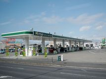 petrol station on highway in Japan royalty free stock photos
