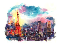 Tokyo, Japan- September 2016: Japan landmark Tokyo tower at twilight watercolor illustration Stock Image