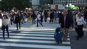 4K Moving dolly of crowd pedestrian crossing Shibuya intersection Tokyo. stock video