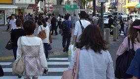 4K Travelling of crowd asian pedestrian crossing Shibuya intersection Tokyo stock footage