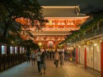 Tokyo, Japan. September 8, 2018- : Kaminarimon, Big Lantern hang over gate at Senso-ji temple. New Year at Asakusa temple at night stock image