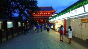Pass through the Nakamise street to Sensoji Houzoumon in Tokyo Japan. Tokyo,Japan - September 11, 2017 :Pass through the Nakamise street to Sensoji Houzoumon in stock video