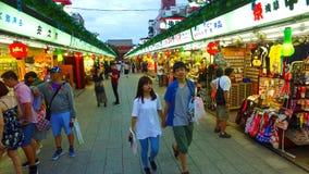 Pass through the Nakamise street to Sensoji Houzoumon in Tokyo Japan. Tokyo,Japan - September 11, 2017 :Pass through the Nakamise street to Sensoji Houzoumon in stock footage