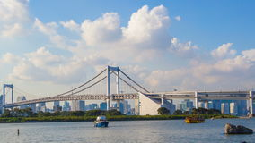 TOKYO JAPAN - SEPTEMBER12, 2015 : timelapse of rainbow bridge and odaiba harbor most popular traveling destination in tokyo japan stock footage