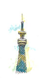 Tokyo, Japan - September 2016: Tokyo sky tree new Landmark of Japan watercolor illustration. Tokyo sky tree new Landmark of Japan watercolor painting Royalty Free Illustration