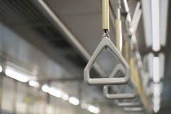 Train strap. Scenery inside the train. Royalty Free Stock Photography