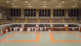 Video of a martial art training of Judo in the dojo of the Kodokan Judo Institute of Tokyo famous for its founder Kano Jigoro. Tokyo, Japan - September 17 2019 stock video