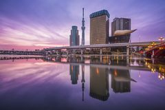 Tokyo, Japan. Skyline on the Sumida River stock photo
