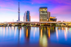 Tokyo, Japan Skyline. On Sumida River Stock Photos