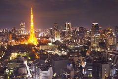 Tokyo, Japan skyline with the Tokyo Tower at night Royalty Free Stock Photos
