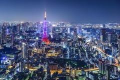 Tokyo Japan stadshorisont Arkivfoto