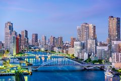 Tokyo, Japan Sumida River. Tokyo, Japan cityscape on the Sumida River Stock Images