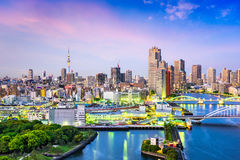 Tokyo, Japan Sumida River Skyline Stock Photography