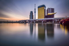 Tokyo, Japan on the Sumida River. Tokyo, Japan skyline on the Sumida River at dawn Stock Photography