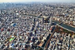 Tokyo, Japan. NOVEMBER 30, 2016: Aerial view of Sumida and Taito wards in . Tokyo is the capital city of Japan. 37.8 million people live in its metro area royalty free stock image